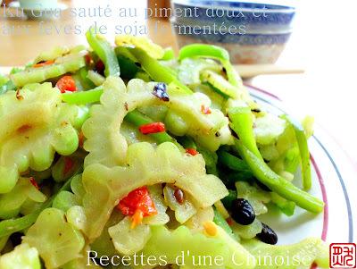 Concombre amer sauté au piment et aux fèves de soja fermentées 豉椒苦瓜 chǐjiāo kǔguā