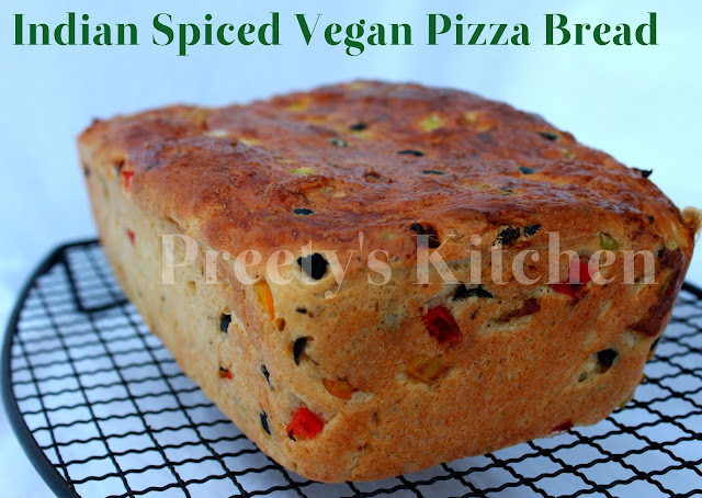 Indian Spiced Vegan Pizza Bread ( Step By Step Pictures)