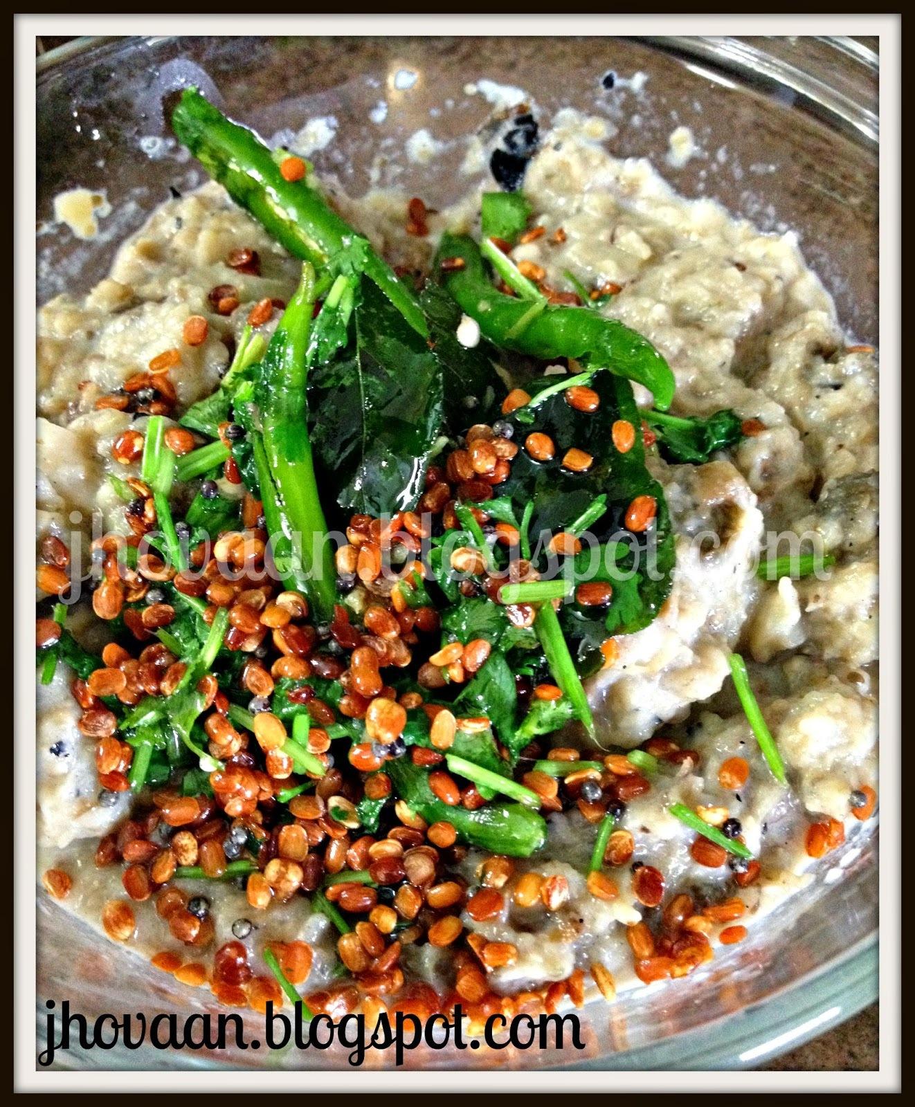 Recipe : Pedatha's Iguru Pachchadi - Milky Brinjal Chutney