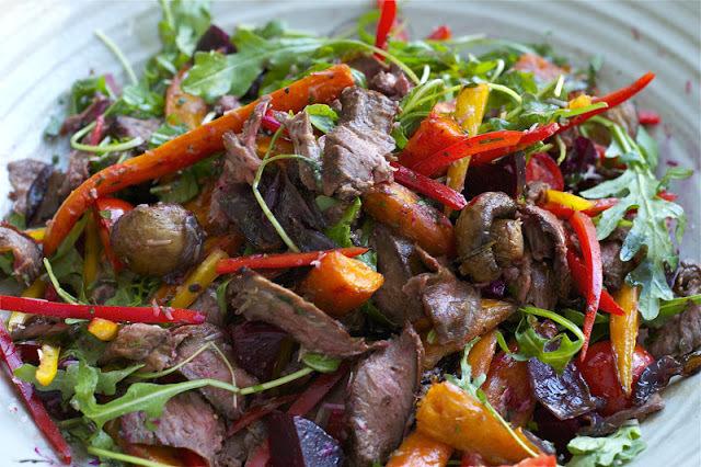 roast vegetable salad with beef fillet