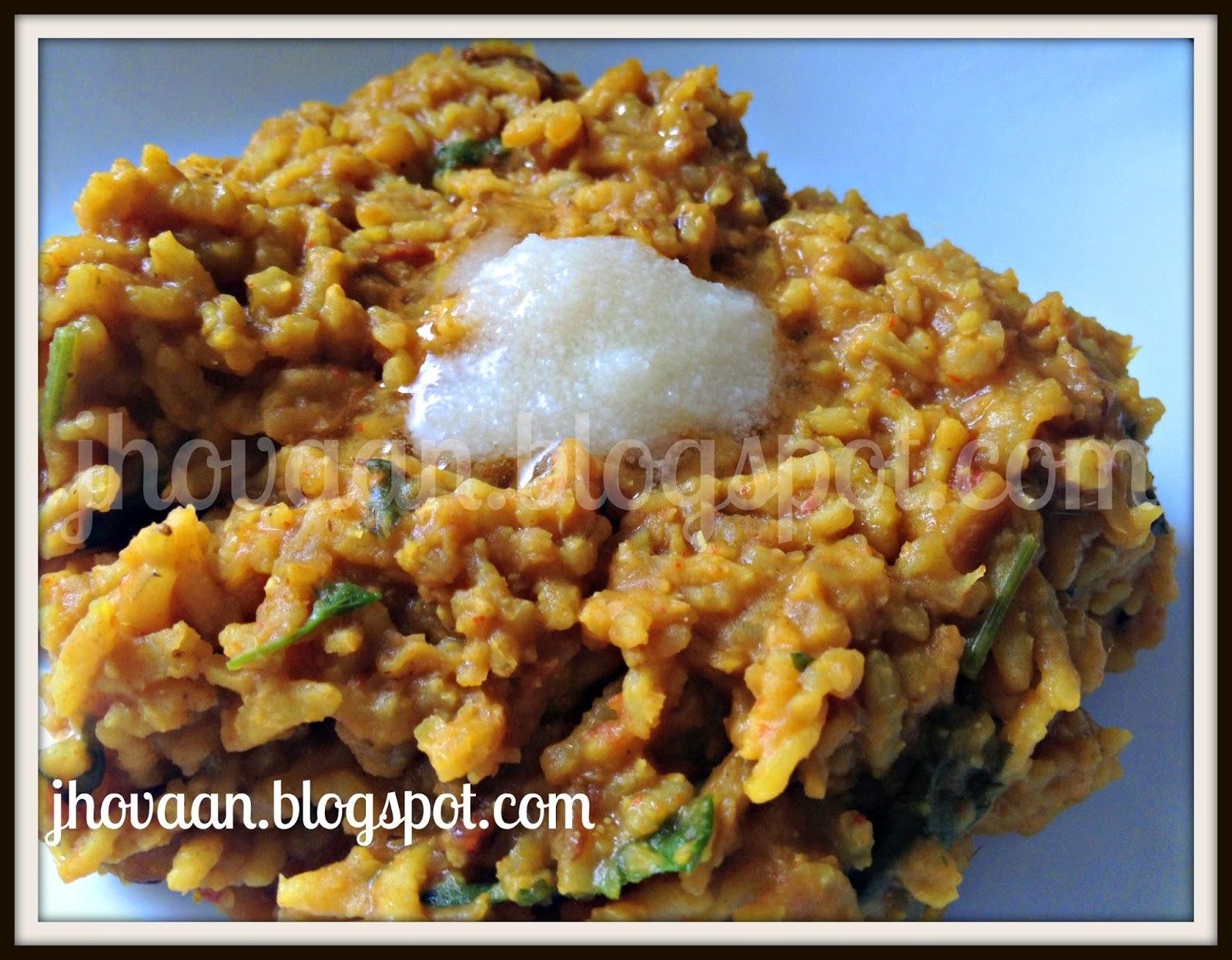 Recipe : Khichdi / Kichudi / Khichadi (Vegan)