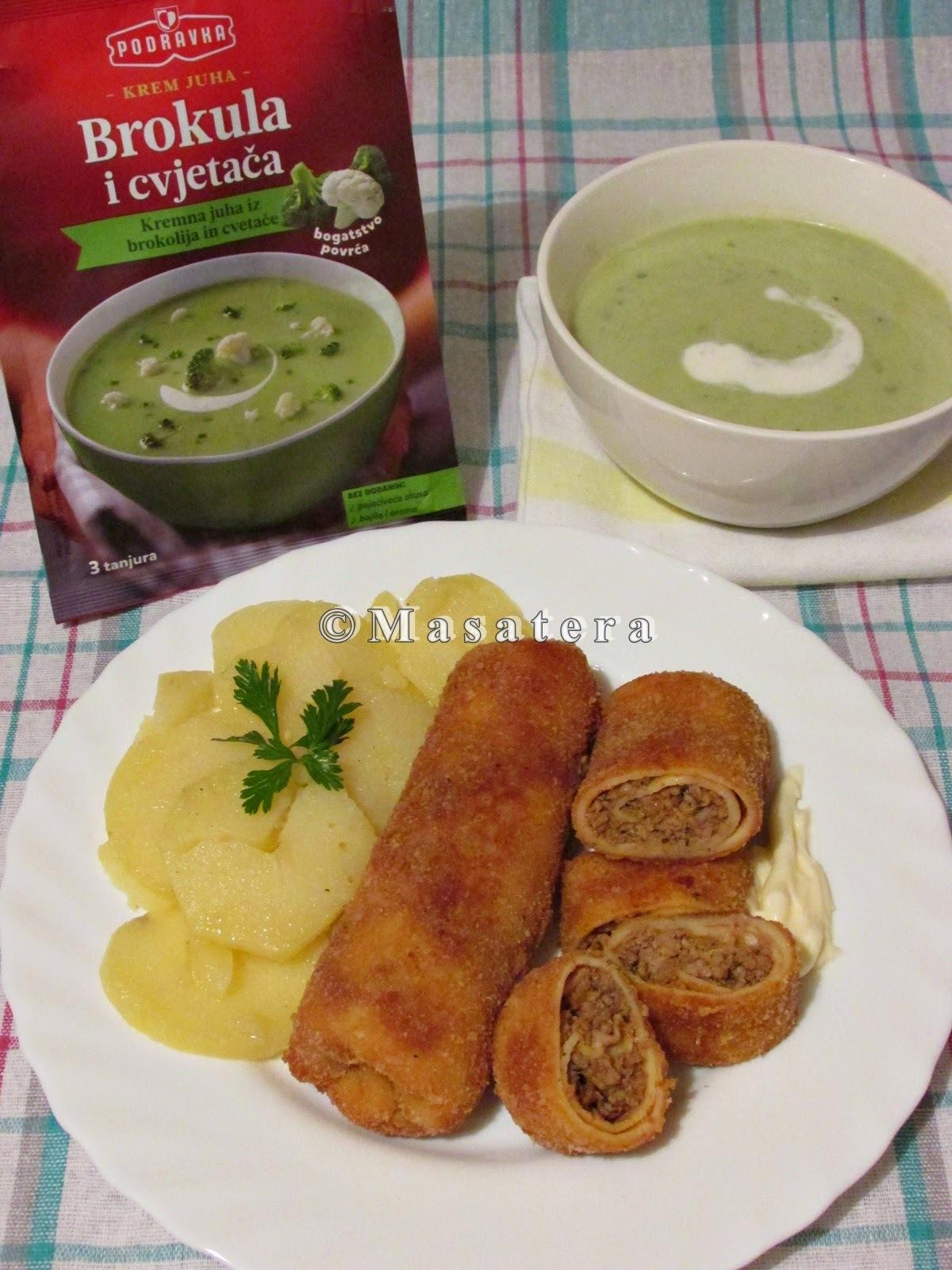 Krem juha od brokule i cvjetače uz pohane punjene palačinke