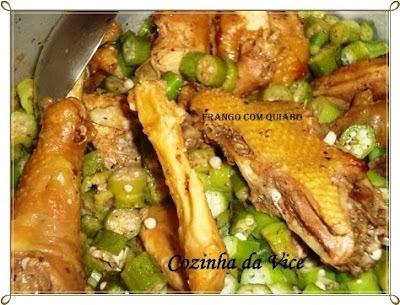 de frango caipira com quiabo e angu