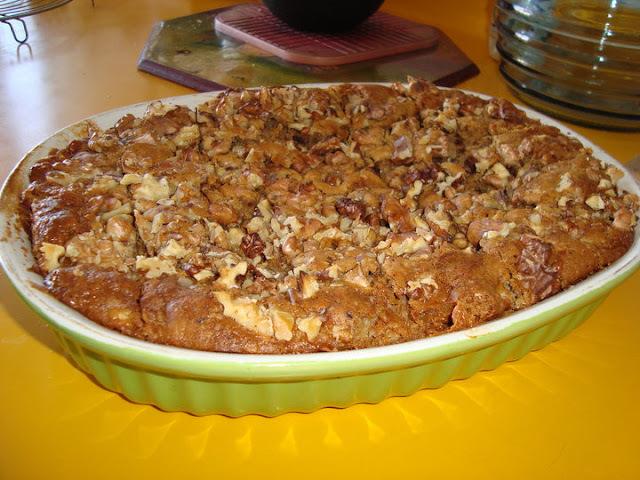 Postre-queque de manzana y manjar