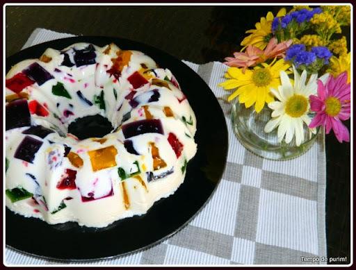 Gelatina mosaico de baixas calorias