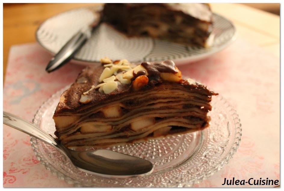 Battle Food #15 Gâteau de crêpes, poires au rhum, sauce chocolat / Nutella