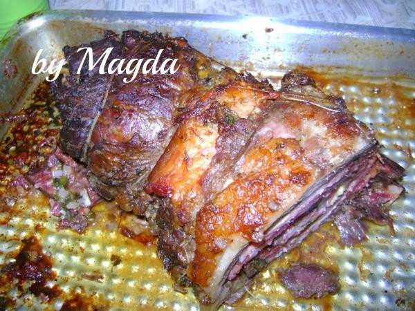 vazio recheado com queijo e bacon assado no forno