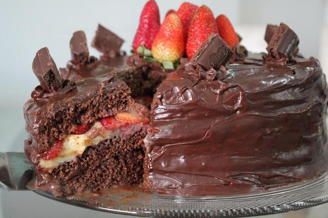 recheio de bolo sensação de morango com chocolate