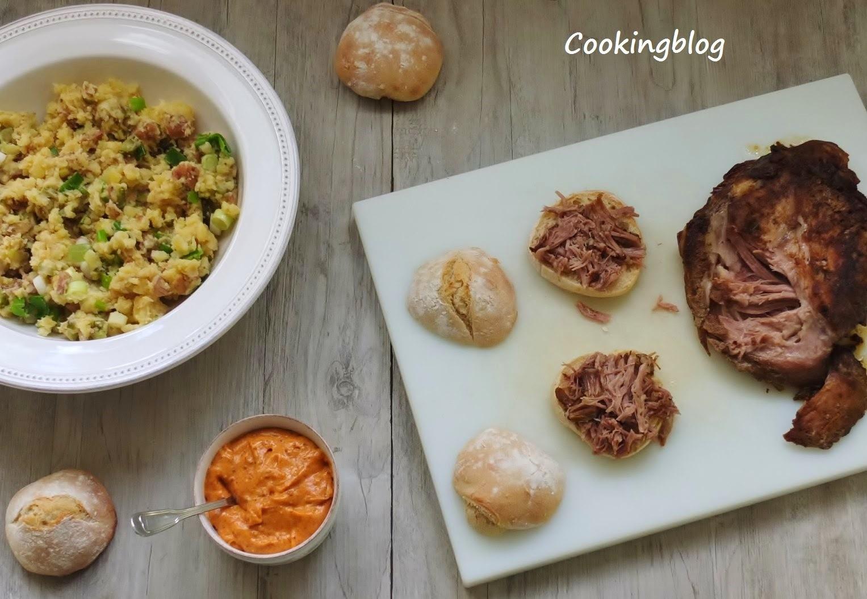 carne de porco assada com maionese e batata