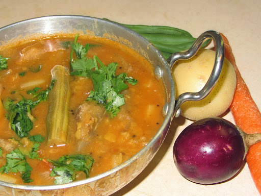 Mixed Vegetable Sambar  - Pappu Pulusu -  With Step Wise Pictures - Sambar Recipe