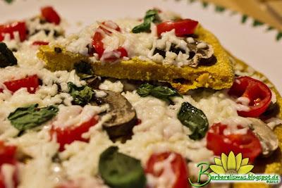Pizza com Massa de quinoa e Batata doce  - Barbarelismus