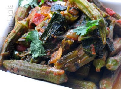 Spicy Sauteed Okra with Collard and Turnip Greens