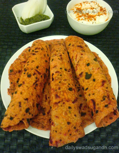 Beetroot, Raddish and Carrot Paratha (Root Vegetables Indian Flat Bread)