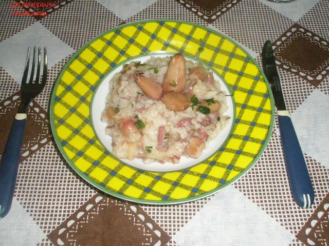 risoto de pinhão e carne seca