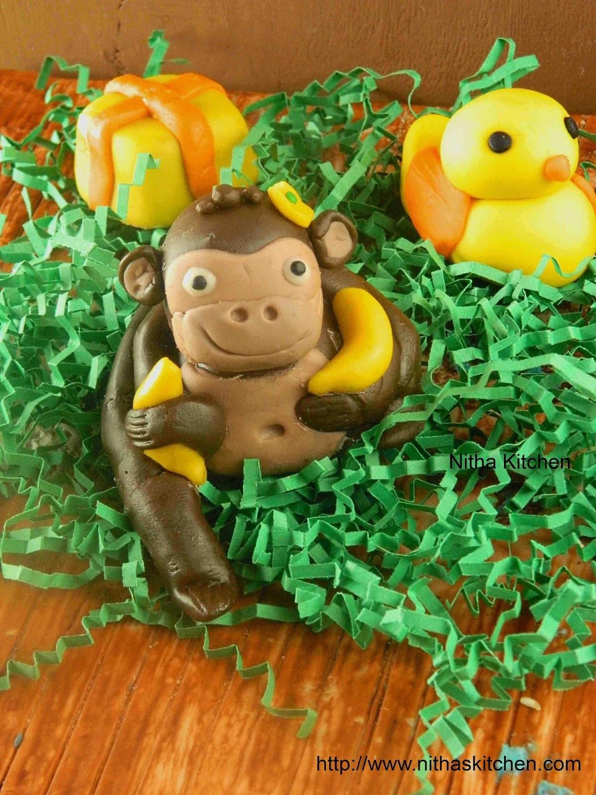 How to make Animal Fondants for Jungle Theme Cake   Marshmallow Fondant Figures