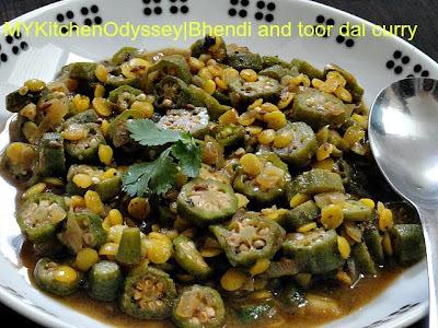 Tangy Bhindi & Toor dal Curry (வெண்டைக்காய் பச்சடி )
