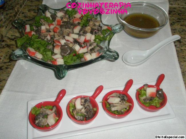 Salada de Shimeji e kani kama