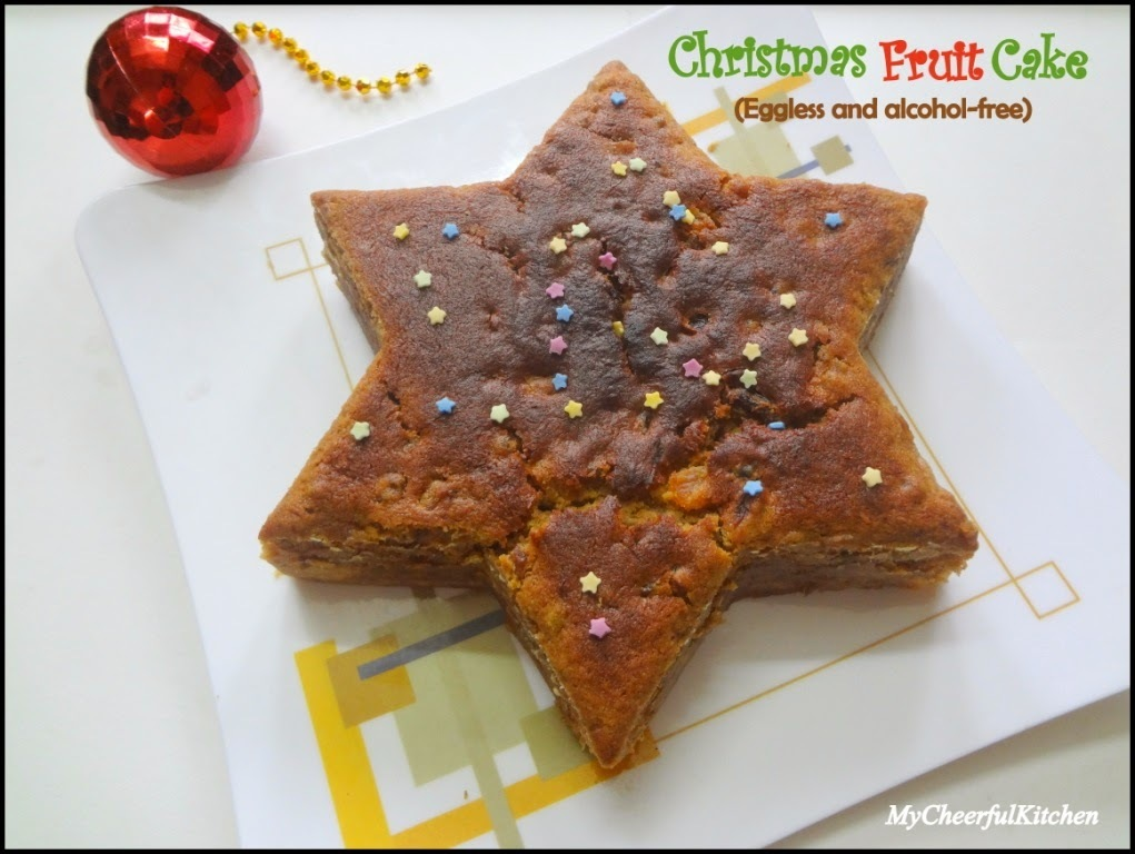 Christmas fruit cake (Eggless and alcohol free)