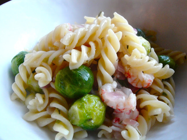 Langostino Fusilli with Brussels and White Wine Sauce