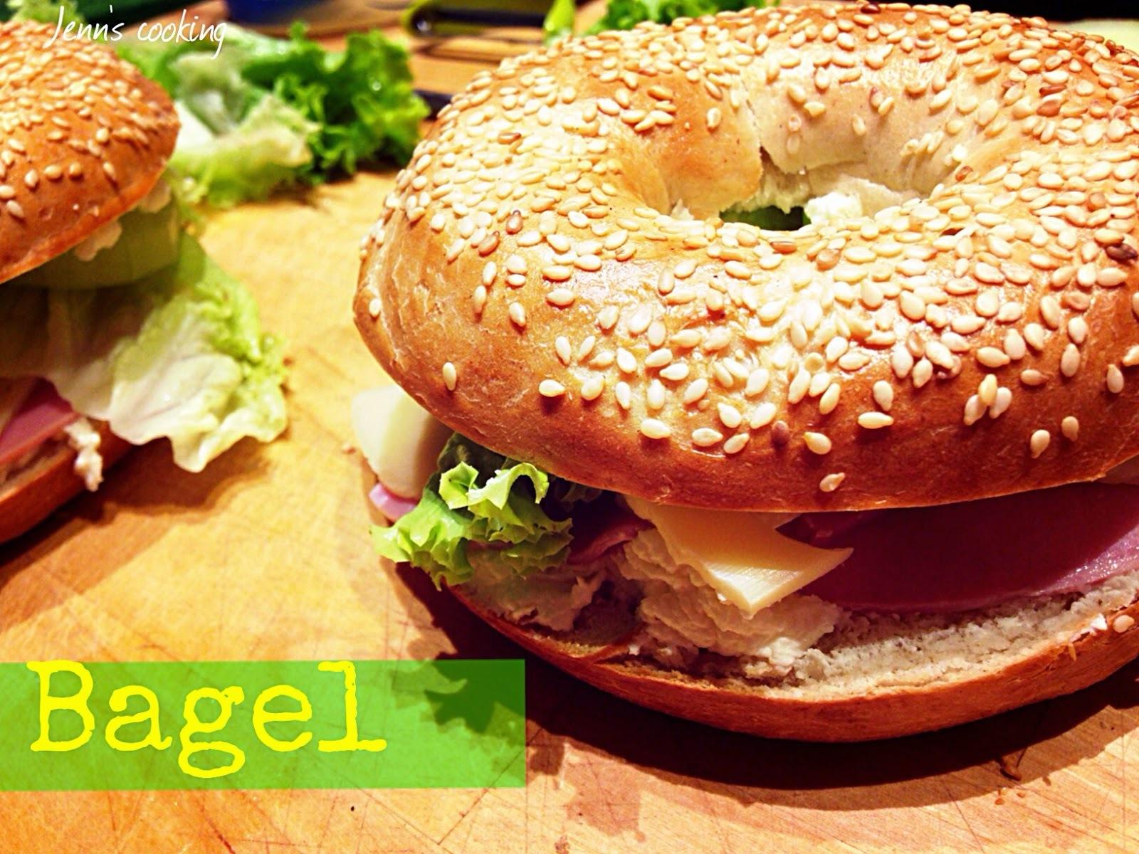Bagel au Fromage, Jambon & Salade