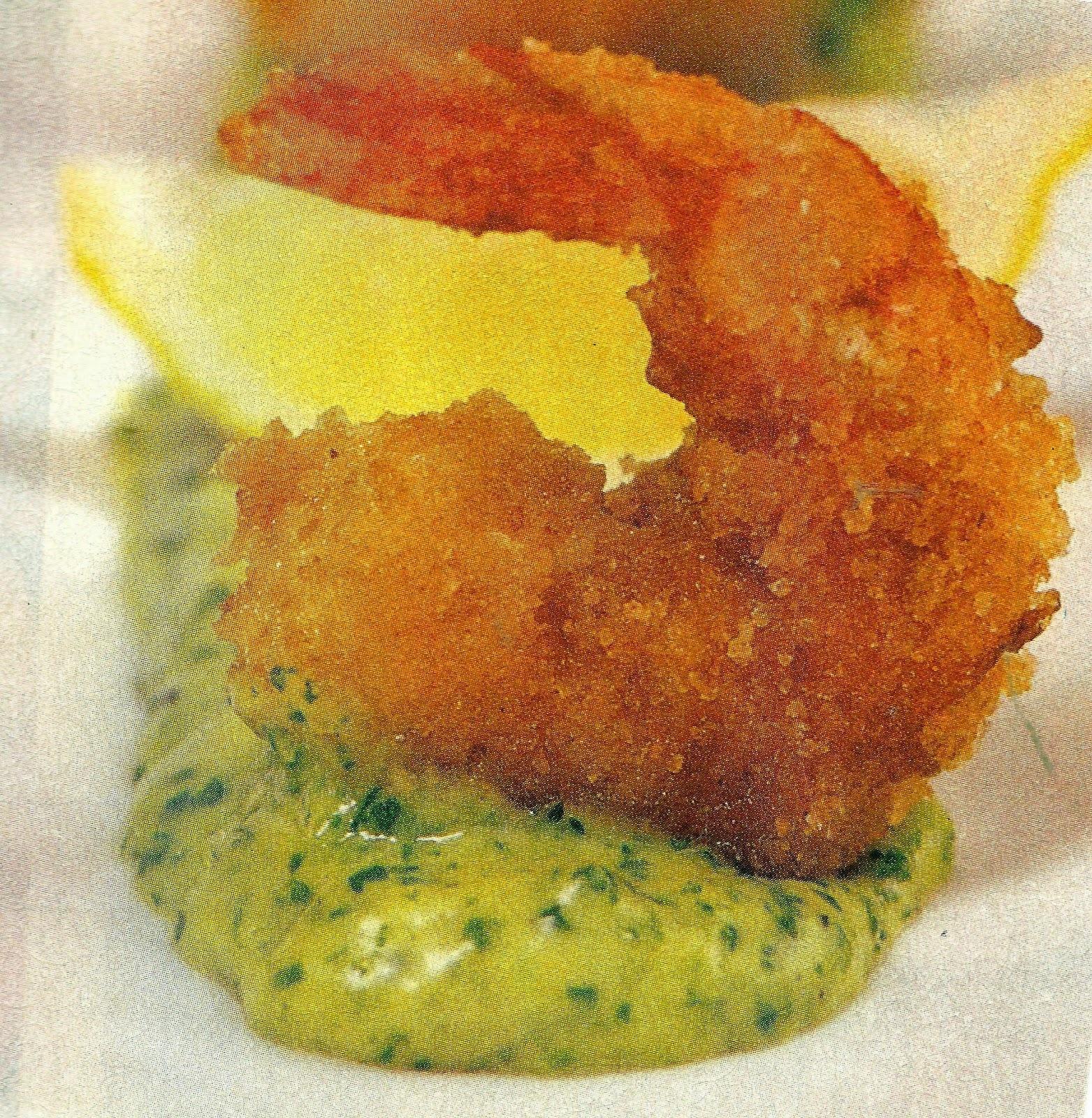 Camarones apanados al horno con dip de cilantro