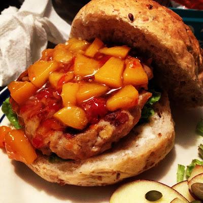 Chilli Peach and Pork Burgers