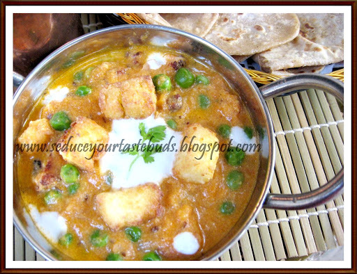 Shahi Mutter Paneer | Green Peas And Cottage Cheese in a Rich Gravy