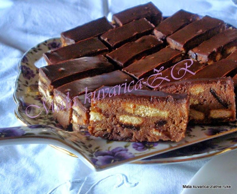 kolac sa petit keksom i cokoladom