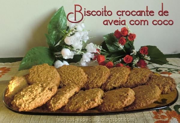 Biscoito crocante de aveia com coco