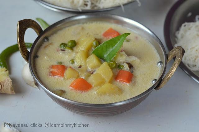 Vegetable Stew/Vegetable Ishtu - Side-dish for Appam/Idiyappam/Palappam