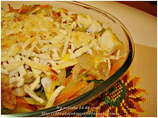 Abobrinha e Cenoura ao Molho de Cebolas e Azeite