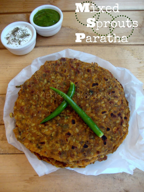 Mixed Sprouts Paratha- Healthy Indian Flat Bread