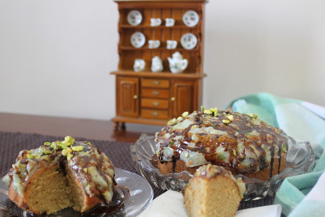 Elaichi Chai Cake with White Chocolate and Pistachio Ganache