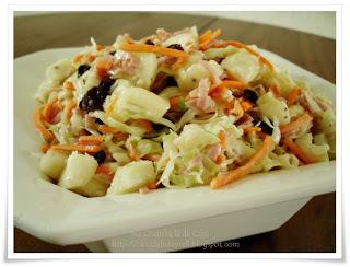 salada de repolho com abacaxi e cenoura