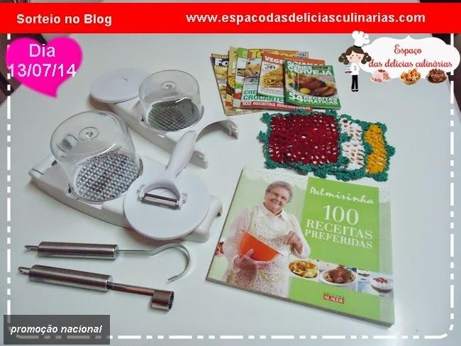 Sorteio de: Cortador de legumes, livro e revistas de receitas de culinária e outros brindes