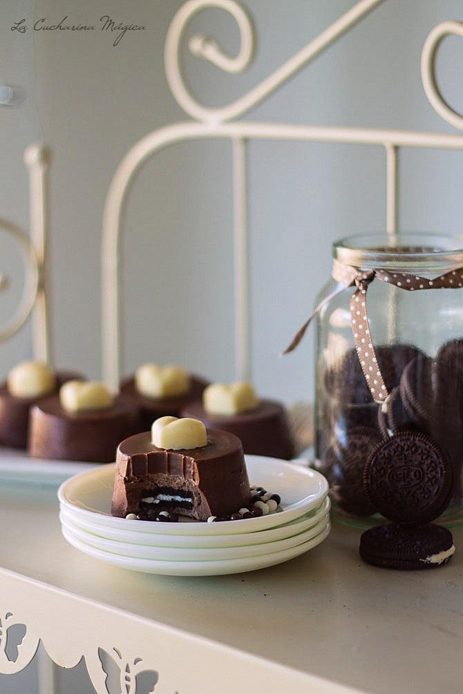 Pasteles de chocolate y Oreos para San Valentín. Receta paso a paso.