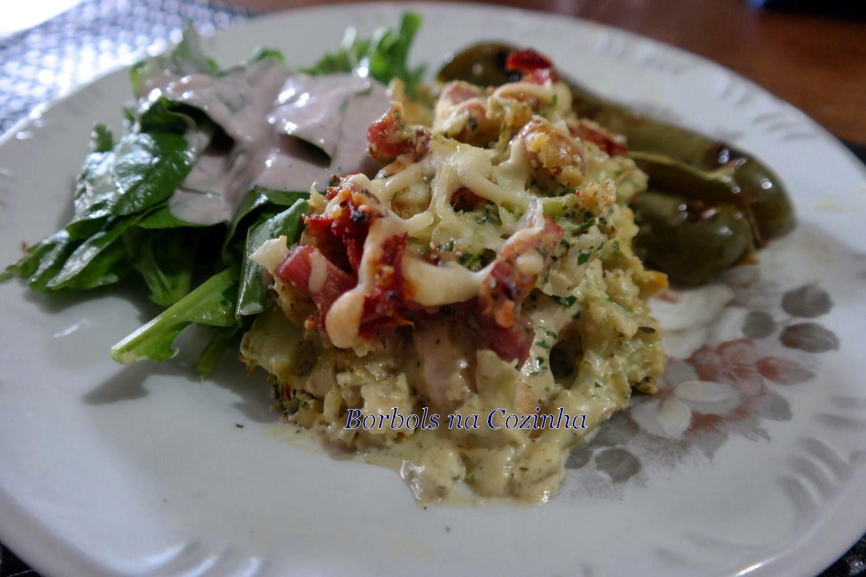 Gratinado de frango com couve flor e champignon Low Carb