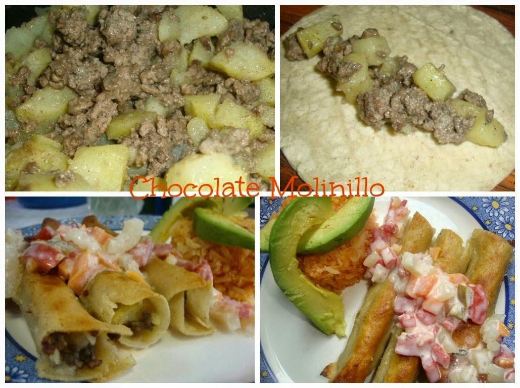 Flautas o Tacos Dorados de Picadillo y Papas