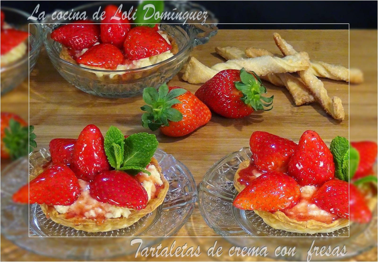 Tartaletas de crema con  fresas