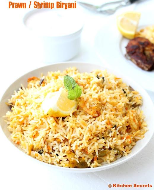 Prawn/Shrimp Biriyani with Onion raita