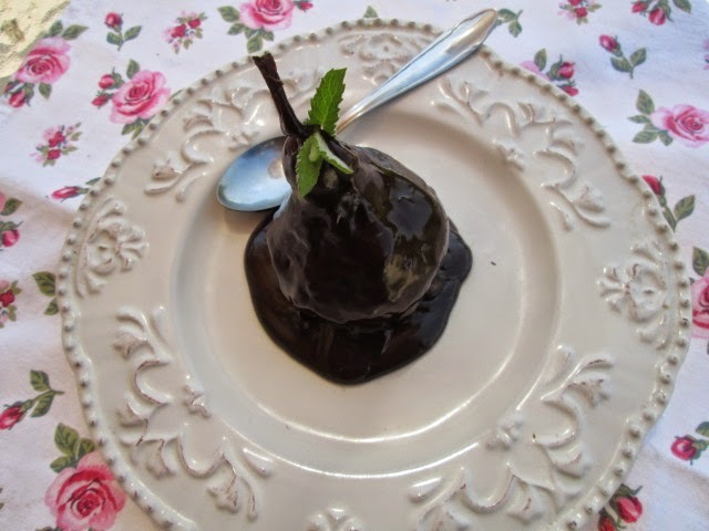 Poires Belle Helene ( Peras al chocolate) chocolate pears
