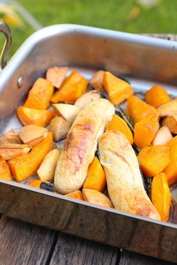 Courge melonnette et coings rôtis au four à la sauge, boudins blancs de Rethel