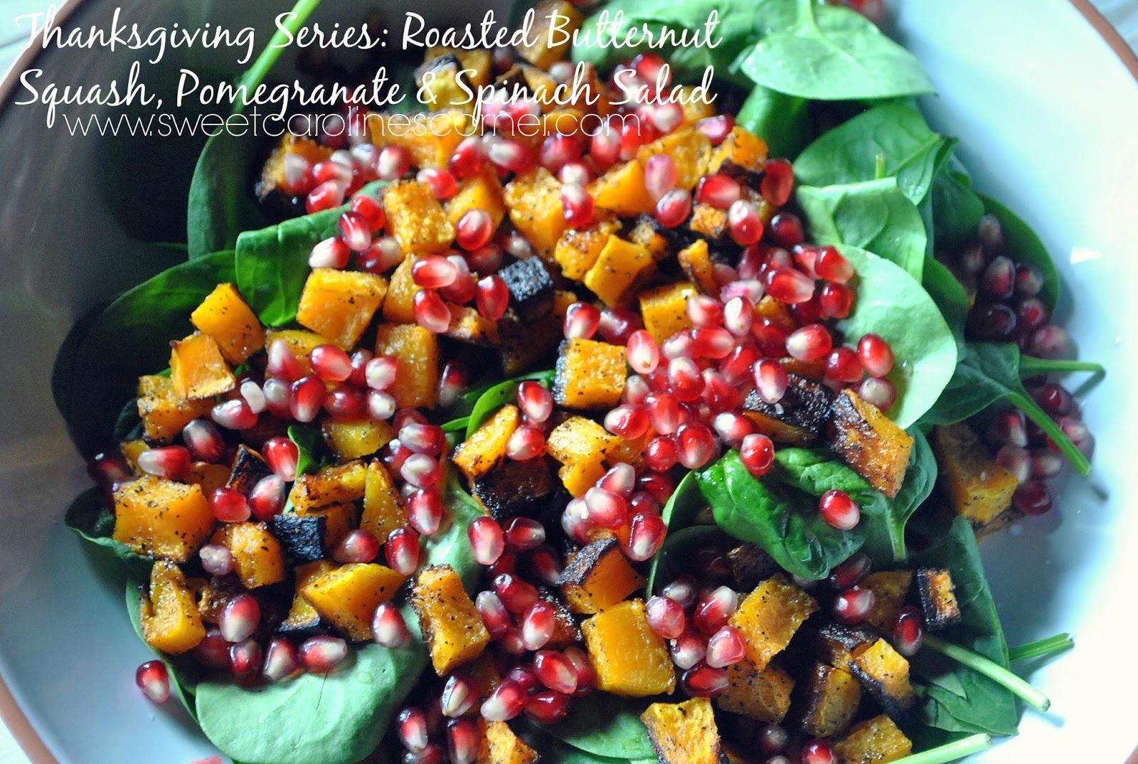 Thanksgiving Series: Roasted Butternut Squash, Pomegranate & Spinach Salad (Salada de Abóbora Assada, Romã & Espinafre)