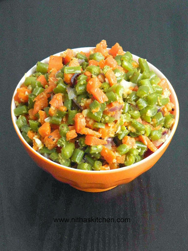 Carrot Beans Stir Fry | Masala Free Poriyal with Green Chili Paste