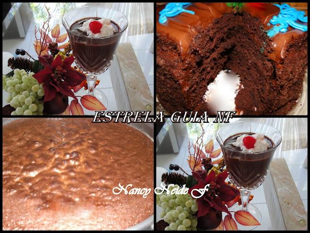 mousse de chocolate com gelatina incolor e barra de chocolate