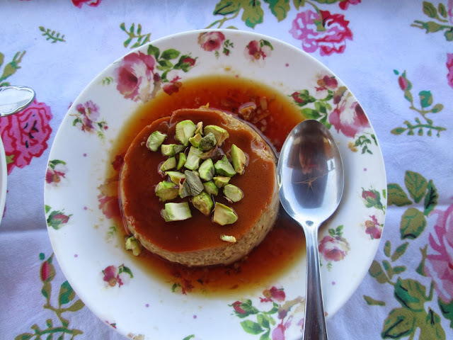 Coffe and cardamon  Flan topped with pistachios