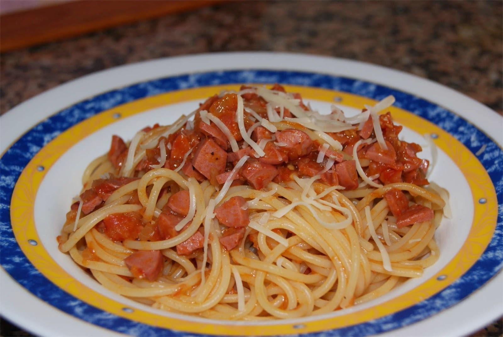 Espagueti con boloñesa de salchichas de pavo