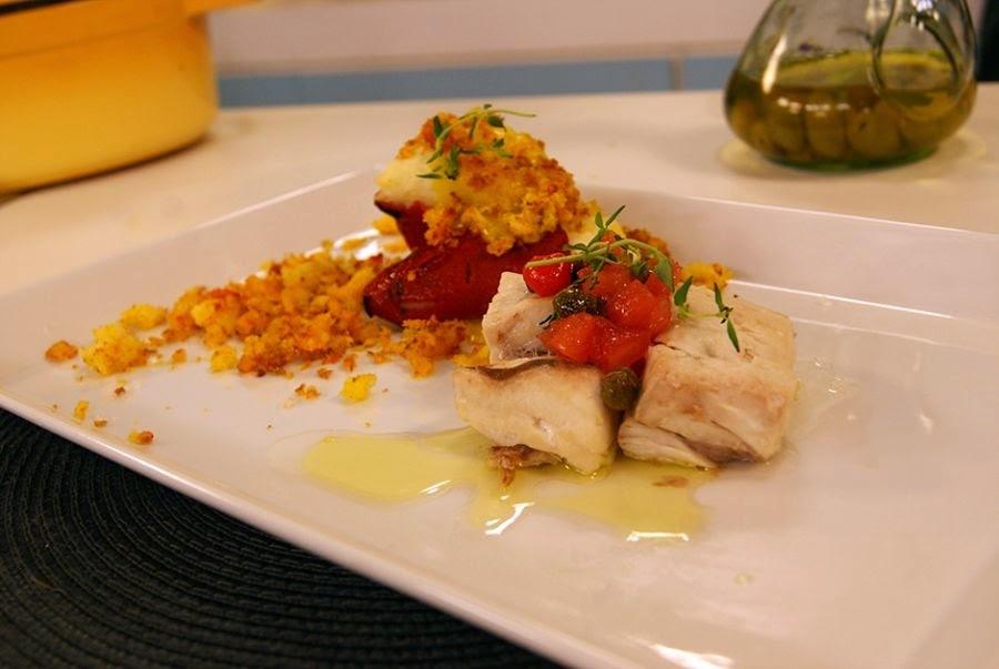 peixe no forno com batata e alcaparras