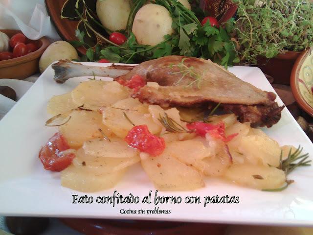 Pato confitado al horno con patatas