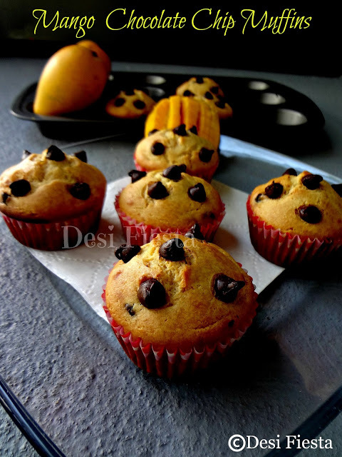 Tempting Mango Chocolate Chips Muffins- Guest Post By Manju Of Desi Fiesta